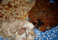Recipe macanki pancakes: pork, chicken, mushrooms