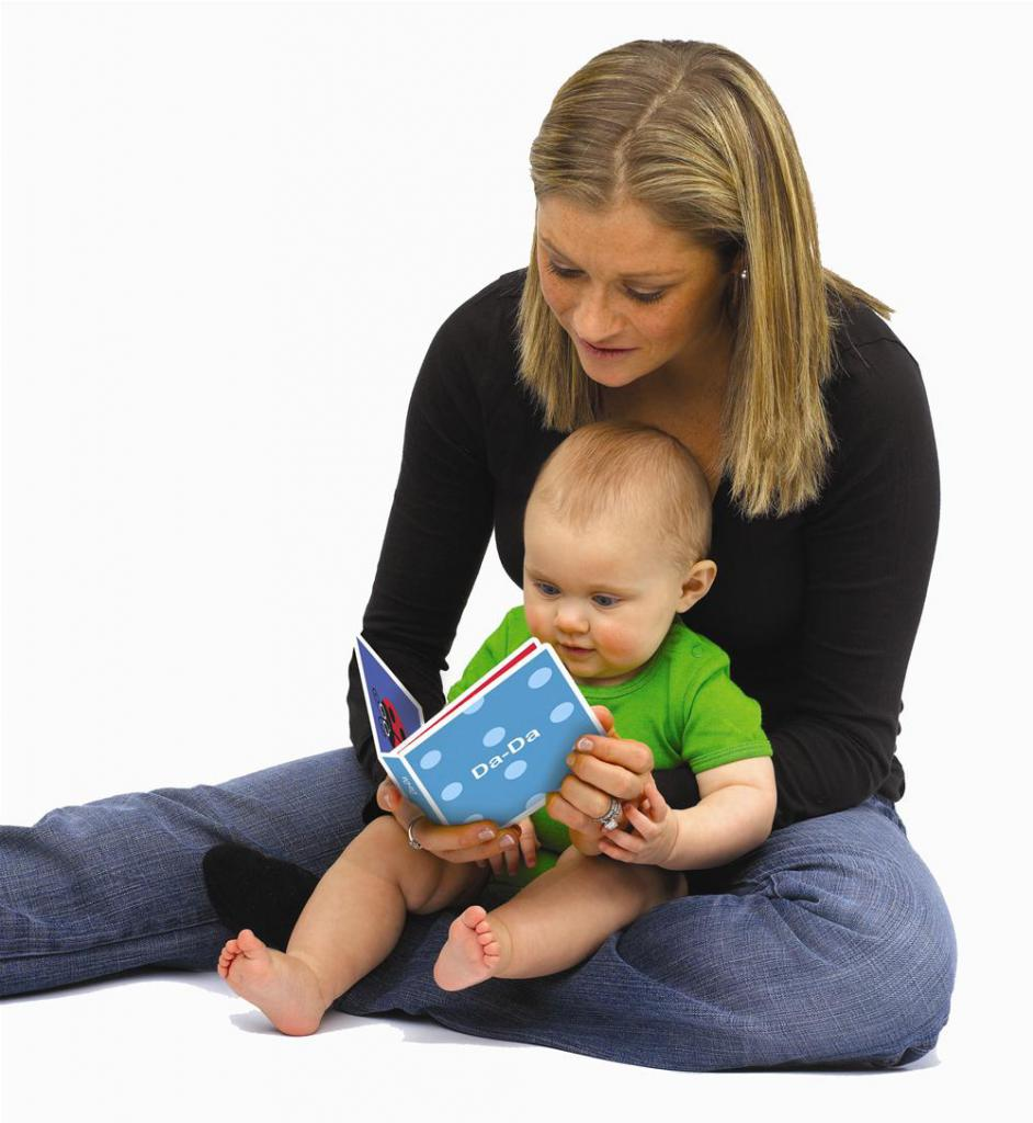 mommy reads baby a book
