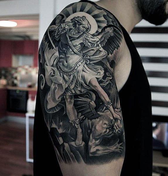 Tatuaż Demon I Anioł Opiekuna Lub Wywoływanie Złych