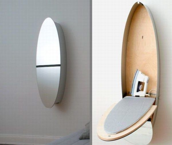 folding Ironing Board built into the wall