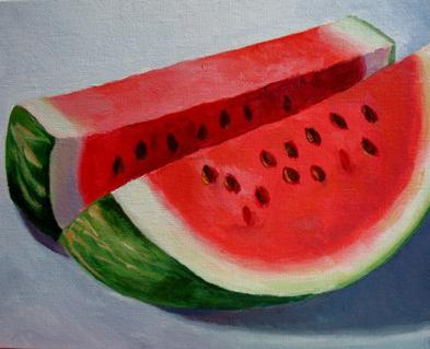 how to draw a watermelon step by step,