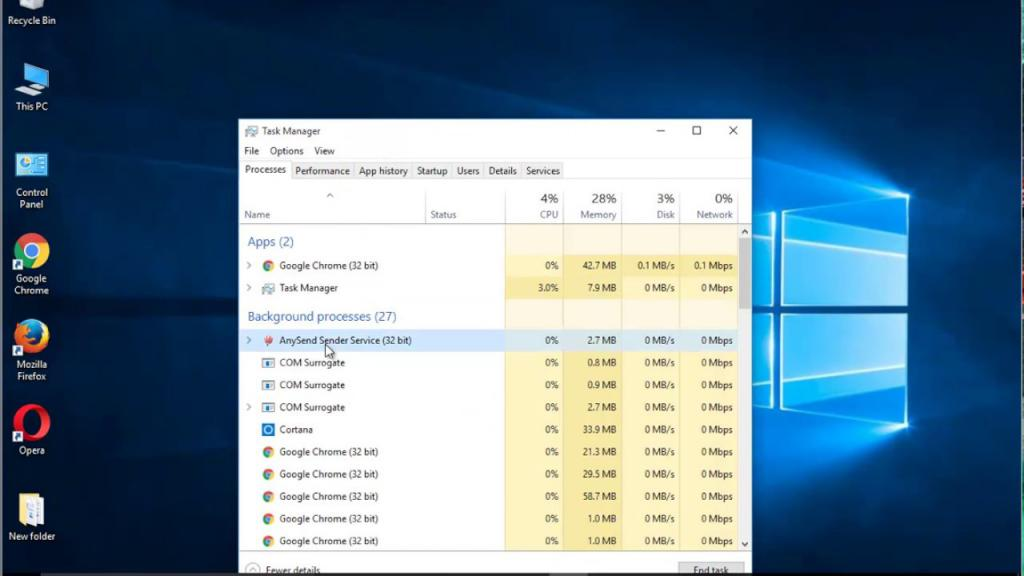 virus process in task Manager